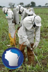 wisconsin workers spraying insecticide on plants