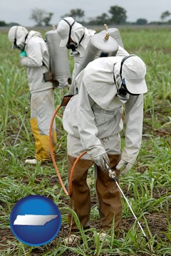 workers spraying insecticide on plants - with Tennessee icon
